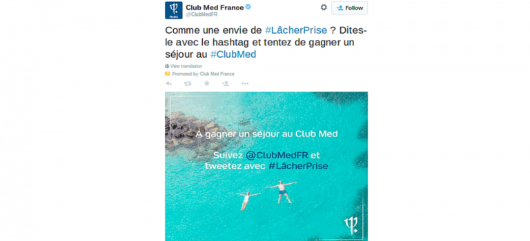 Tendance sponsorisée Club Med, branding et concours